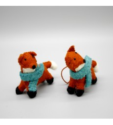 Two Mini Foxes - Christmas Tree Decorations