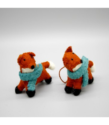 Two mini standing foxes christmas tree decorations