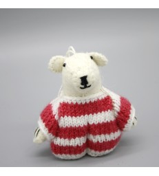 Hanging Polar Bear in a Christmas Jumper Decoration