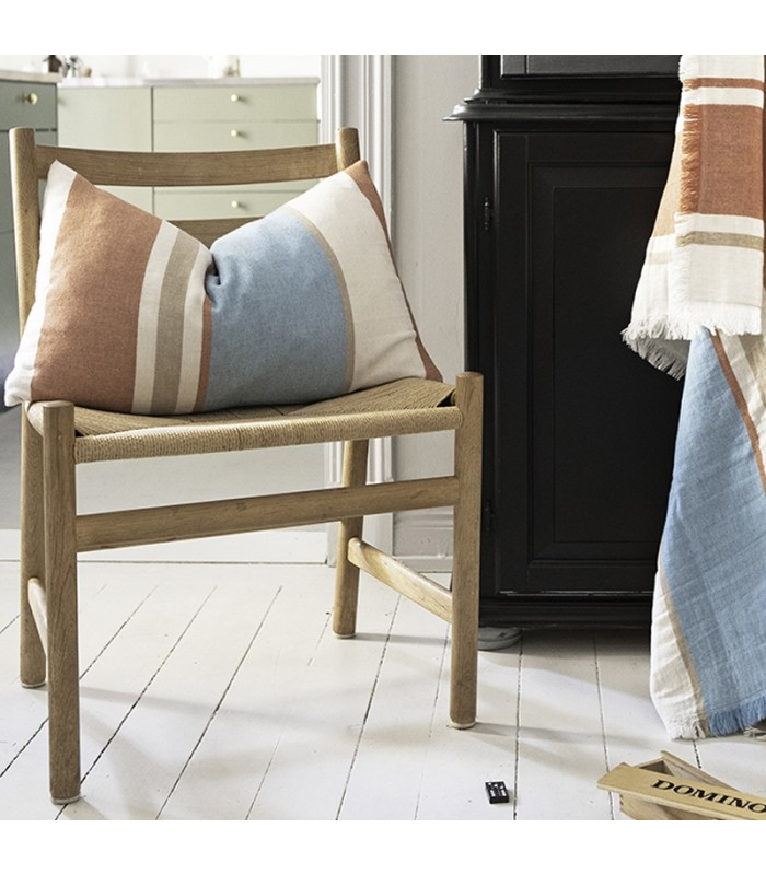 swedish orange and aqua cushion a soft modern striped cushion