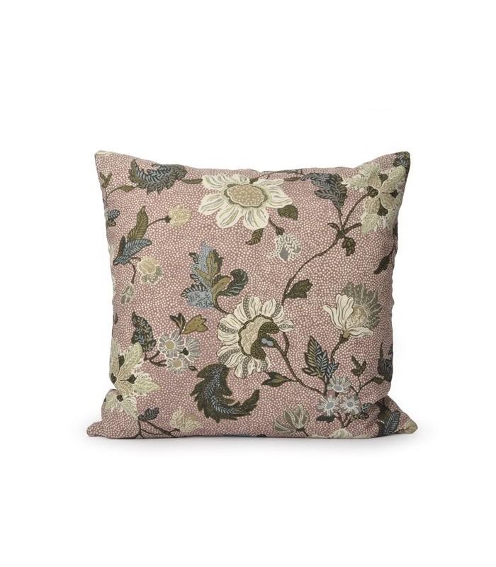 Pink Floral Linen/Cotton Cushion