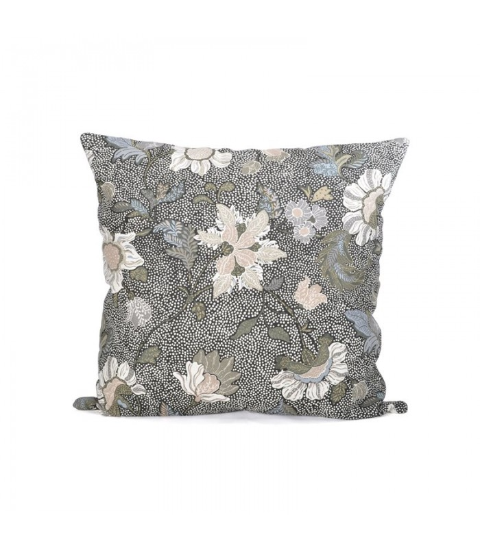 Black Floral Linen/Cotton Cushion