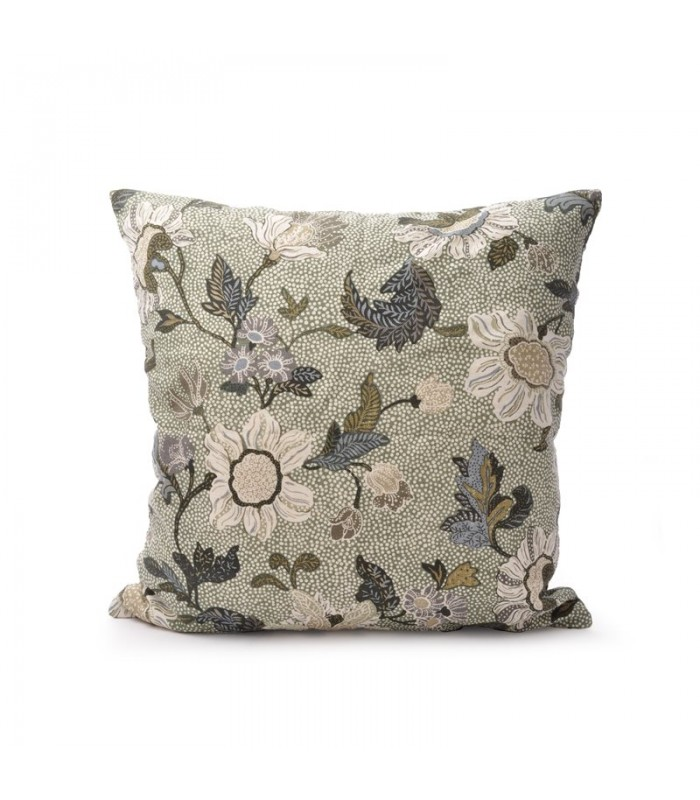 Soft Green Floral Linen/Cotton Cushion