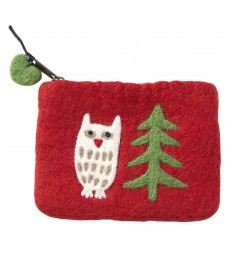 Red Owl in the Forest Felt Purse
