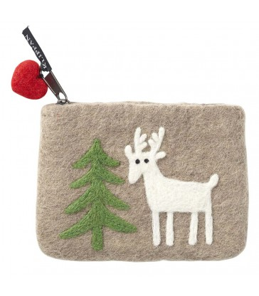 Beige Reindeer in the Forest Felt Purse