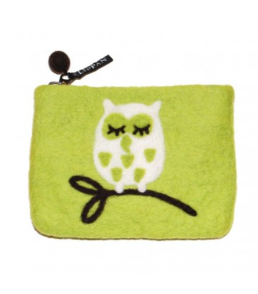 Green Tree Owl Felt Purse