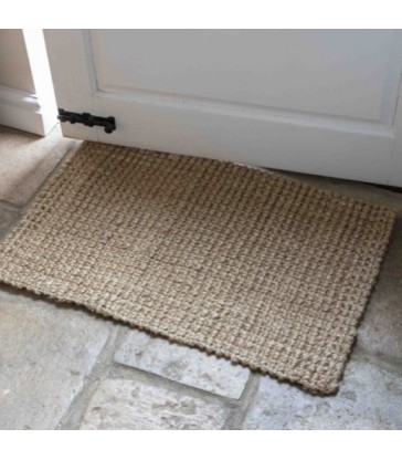 Natural fibre home interiors jute door mat in dark grey