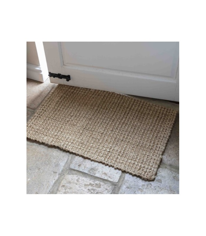Natural fibre home interiors jute door mat in dark grey