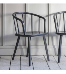 Two Ash Dining Chairs - Painted Black