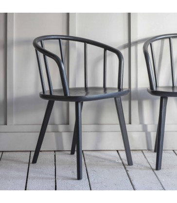set of two modern dining chairs painted dark carbon black
