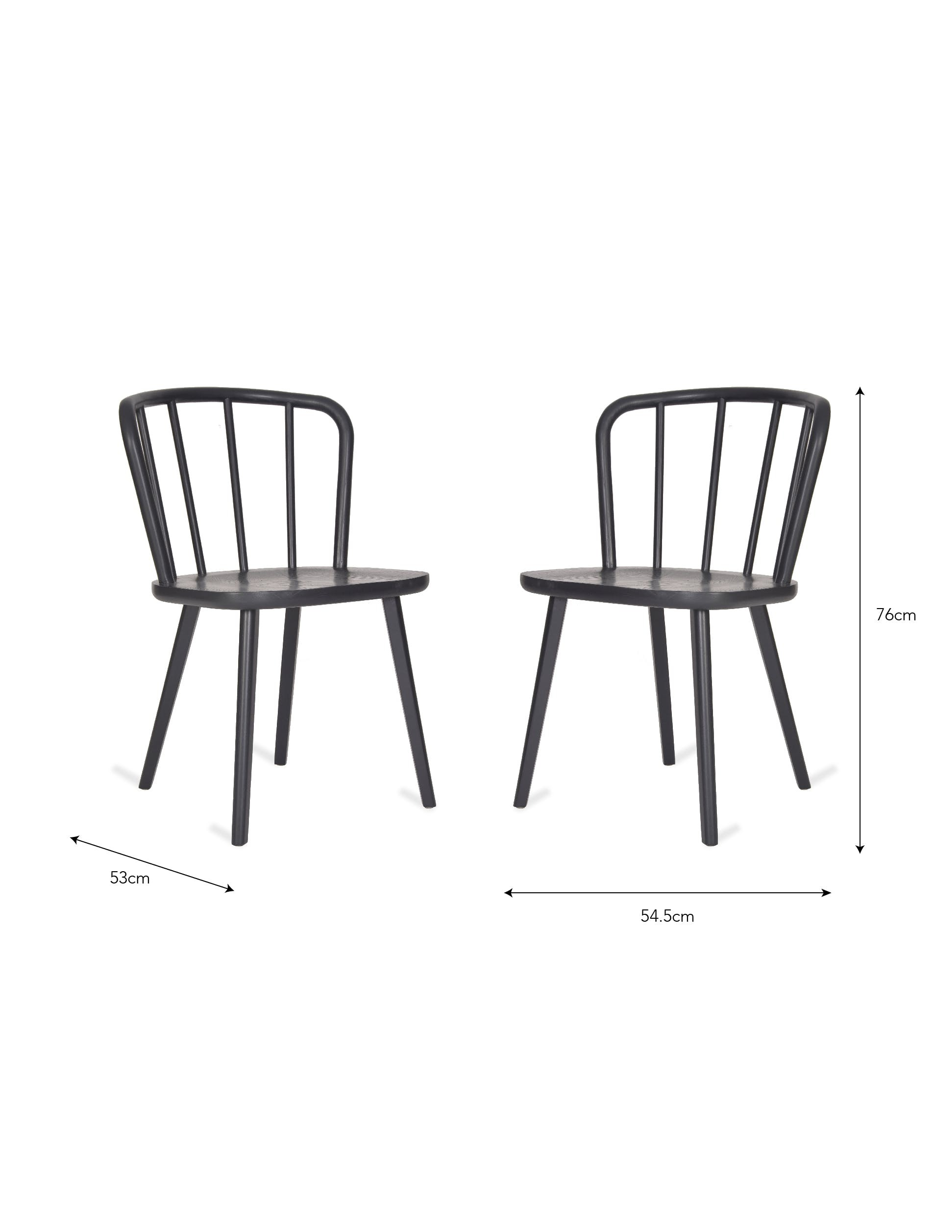 Set of Two Contemporary Black Kitchen Chairs   The Blue Door