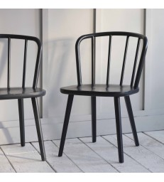 Set of Two Contemporary Black Kitchen Chairs