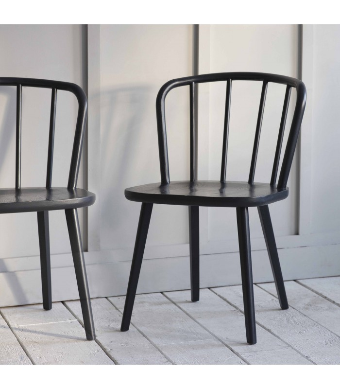 pair of two modern spindle back chairs