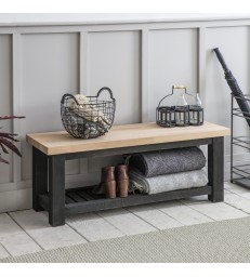 Black Painted Hallway Bench with Beech Top