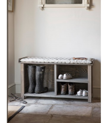 shoe storage bench with a seat pad