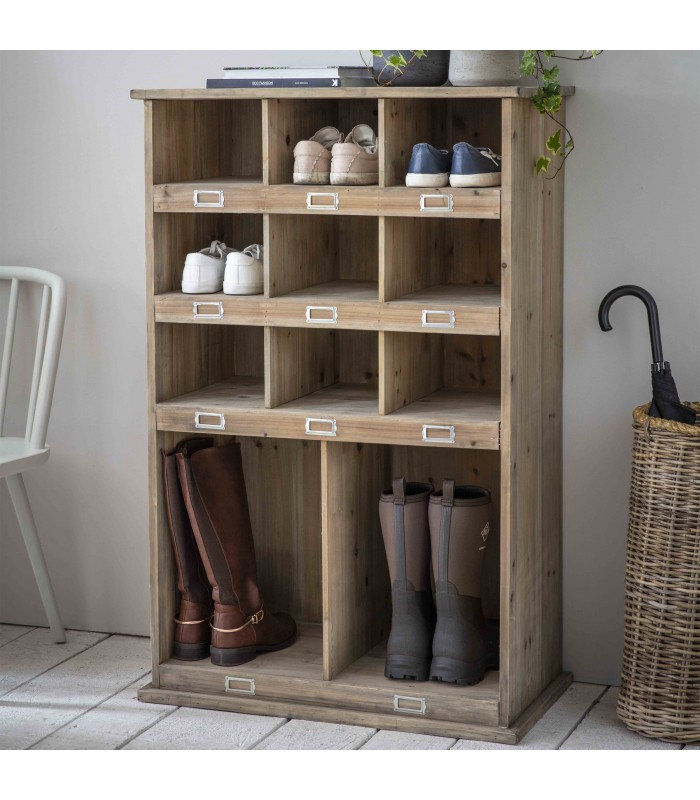 Tall welly and shoe locker with 11 compartments