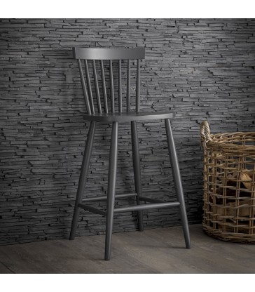 traditional spindle back bar stool painted dark charcoal black