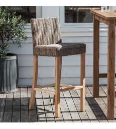 All weather rattan stool with back