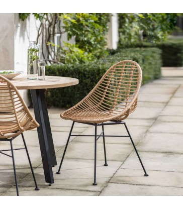 Pair of Scoop Chairs in all weather bamboo