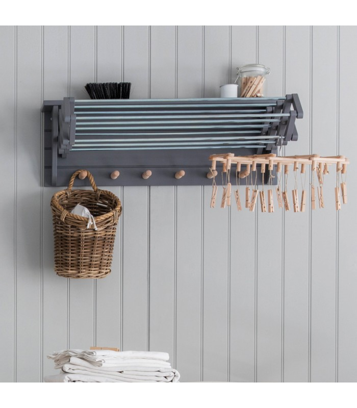 wall mounted extending clothes dryer in charcoal