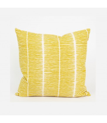 lemongrass yellow fairtrade printed cushion with filler
