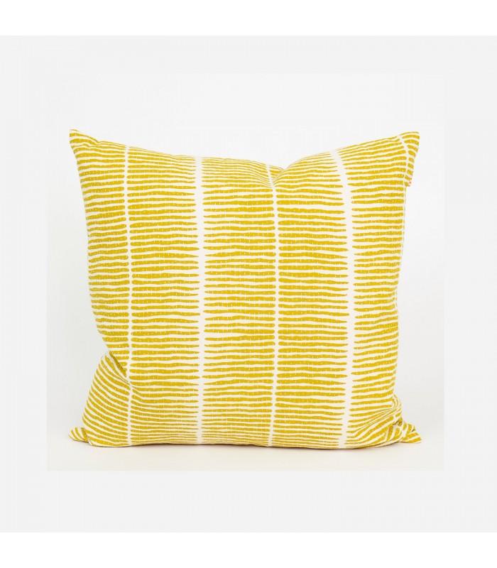 lemongrass yellow fairtrade printed cushion with filler