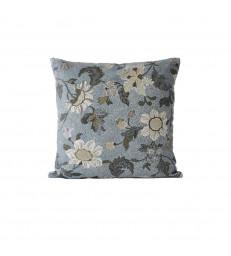 Dusty Blue Floral Linen/Cotton Cushion