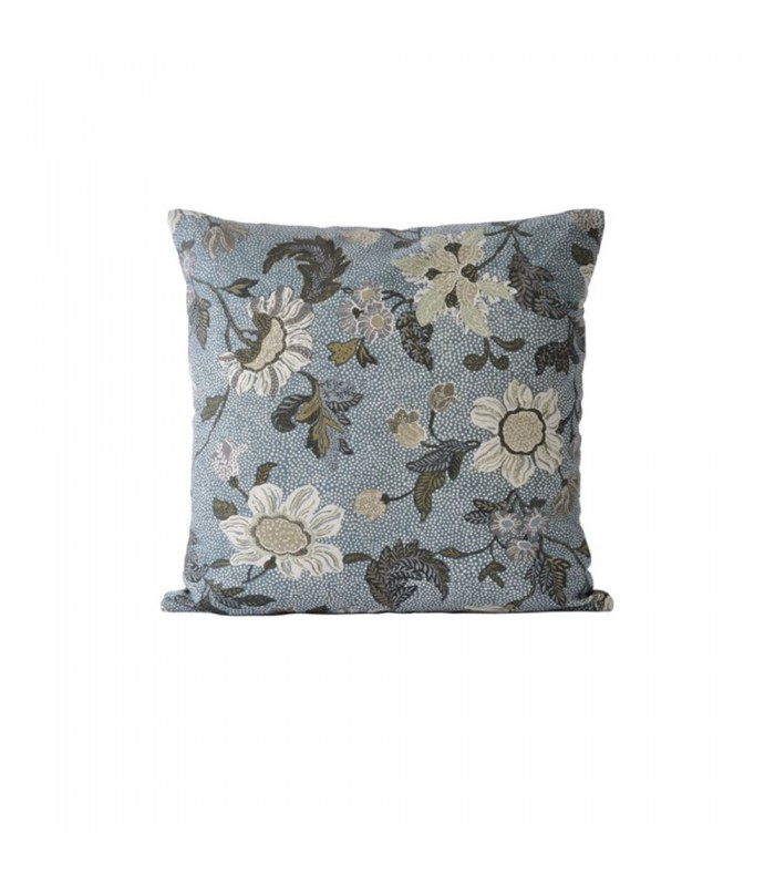 Dusty Blue Floral Linen/Cotton Cushion