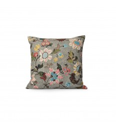 Grey Multicoloured Floral Linen/Cotton Cushion