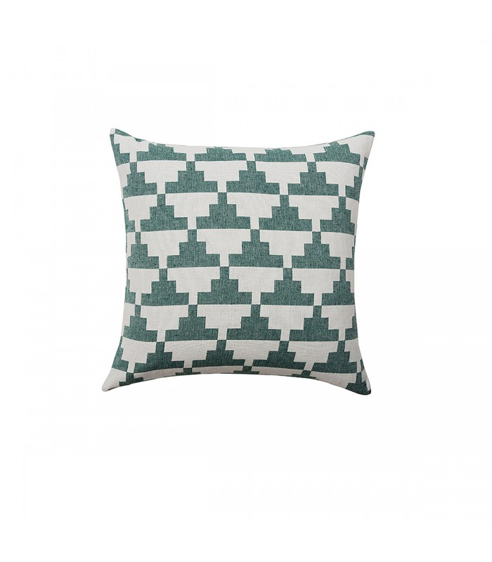 Green and White Geometric Pattern Cushion