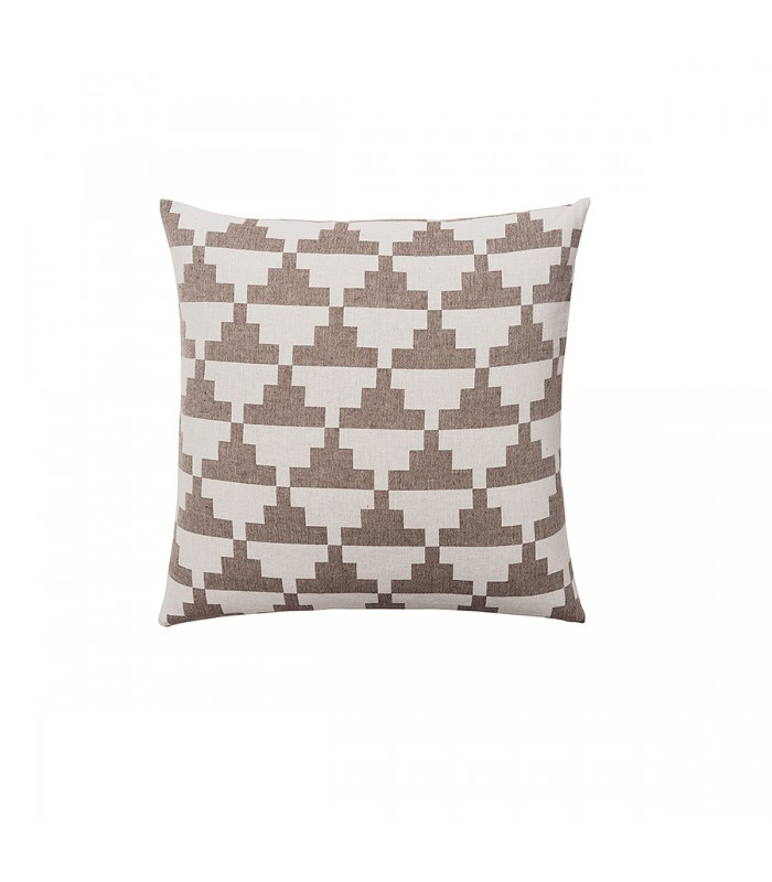 Cacao and White Geometric Pattern Cushion