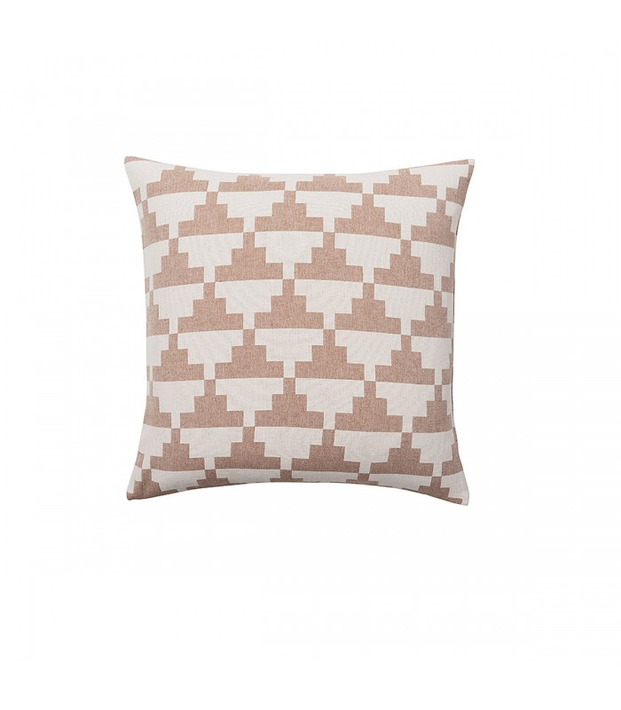 Nude and White Geometric Pattern Cushion