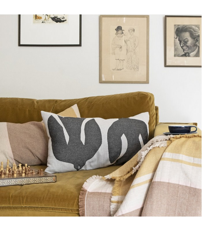 Black and White Abstract Bird Cushion