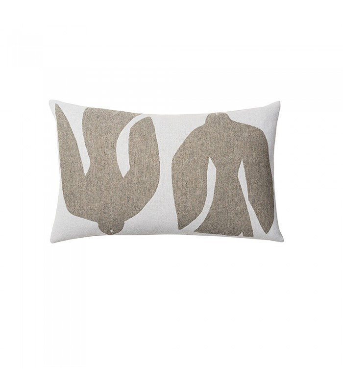 Olive and White Abstract Bird Cushion