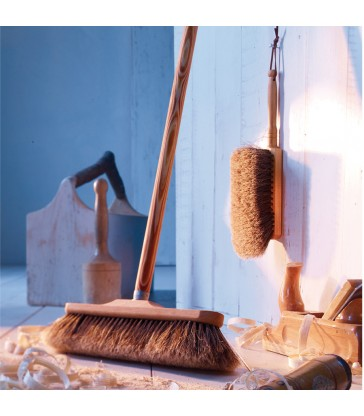 wooden broom with horsehair broom head from the blue door