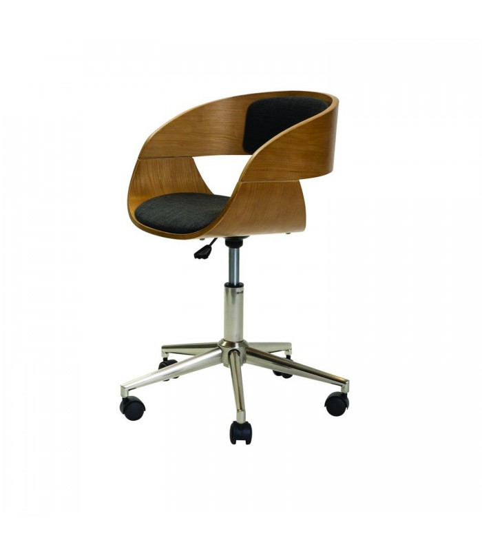 oak office chair with sviwel base and upholstered seat and back