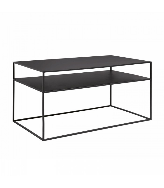 black metal slimline coffee table with shelf