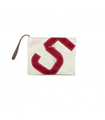 Zipped Clutch Bag with Leather Strap - Red