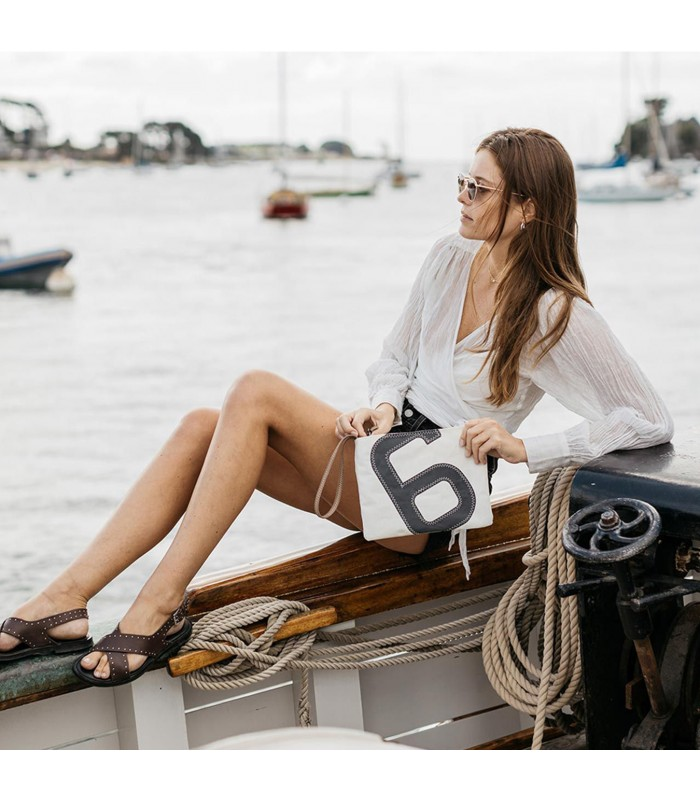 mini clutch bag with leather strap for summer days by the sea