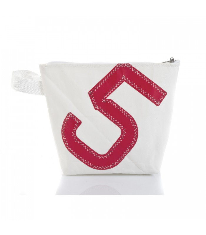 wash bag made from recycled sails with red letter 5