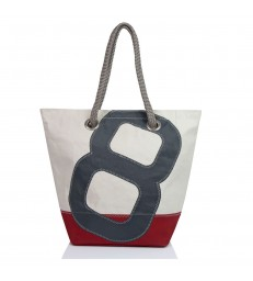 Large Sailcloth Handbag - Grey 8 Red Base