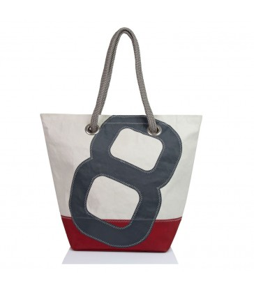 Large sailing themed carry bag with a grey 8 and red base