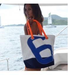 Large Sailcloth Handbag 6 - with orange handles