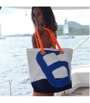 large recycled sailcloth hand bag with orange handles
