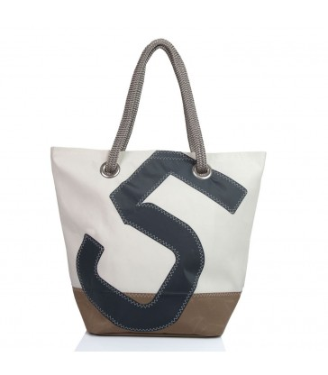 large sailcloth hanbag with navy 5 and camel brown base