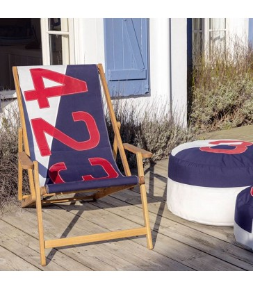 423 deckchair from sails in red and navy blue