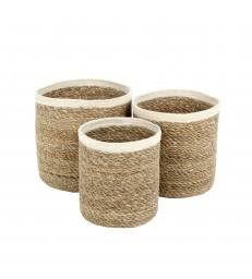 Set of 3 Small Seagrass Baskets - White