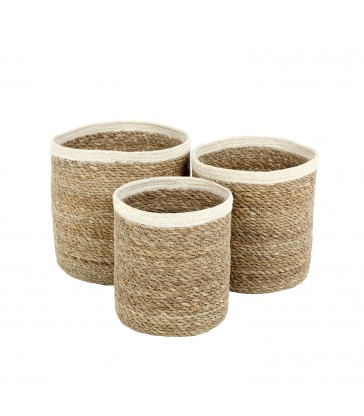set of three small storage baskets made from seagrass