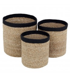 Set of 3 Seagrass Baskets - Black Trim