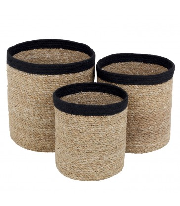 Set of 3 Seagrass Baskets - Black Trim
